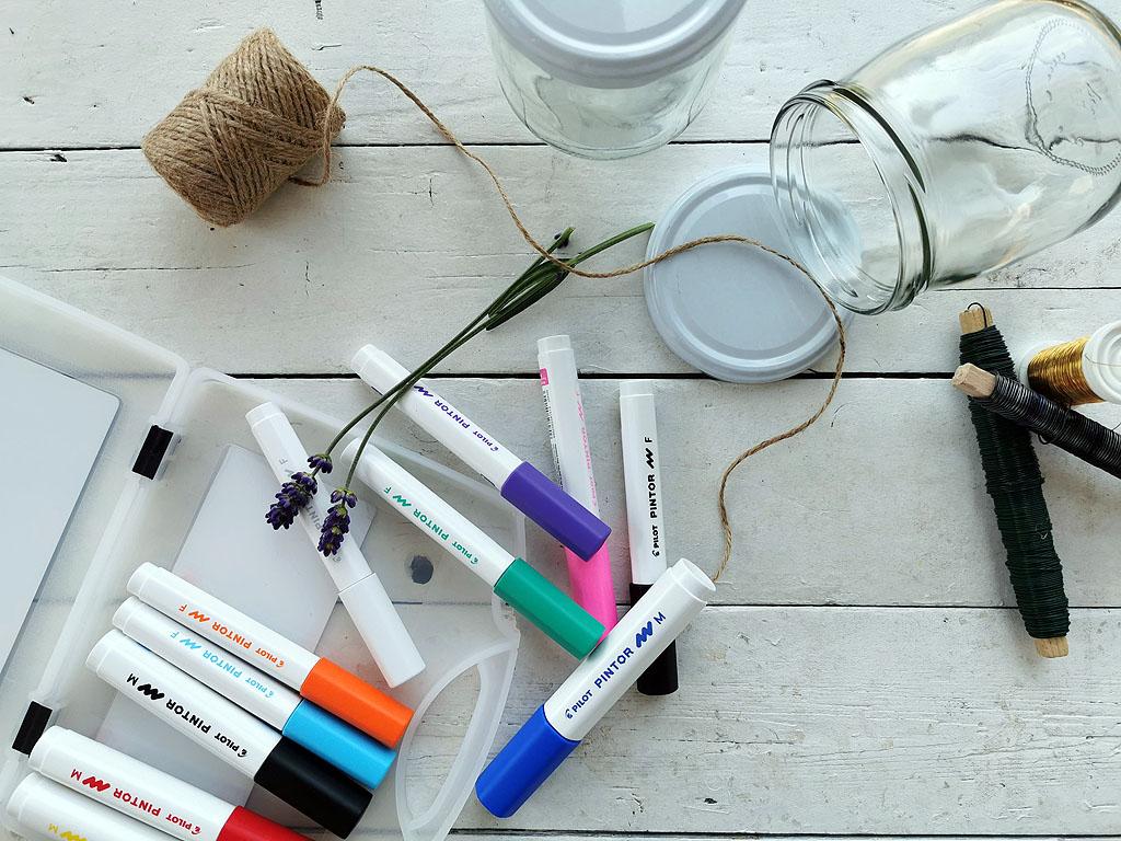 Materialien für Windlichter aus Marmeladenglas