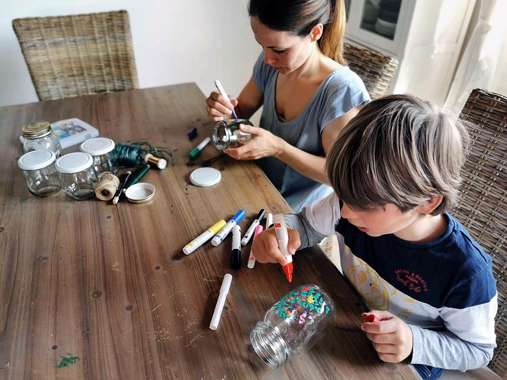 Basteln mit Marmeladengläsern und Pilot Pintor