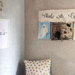 Galerieboard im Eingangsbereich für Bastelarbeiten und Bilder